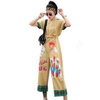 QING MO Women Short Sleeve Ankle Length Jumpsuits Orange Khaki Women Cartoon Print Hooded Jumpsuits 2019 Summer ZQY614