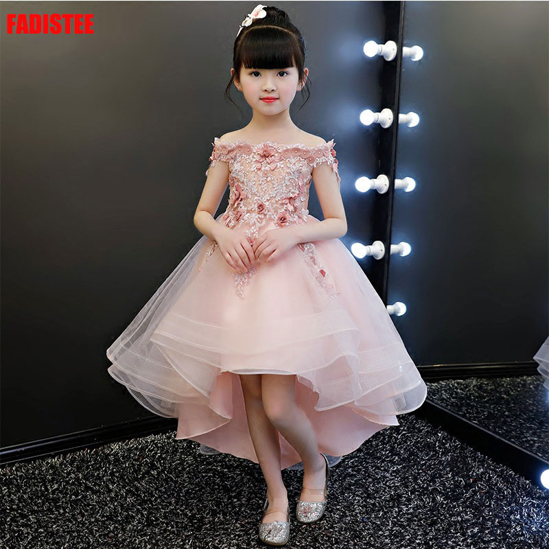 New Arrival Pretty Flower Girl Dresses Baby Girl Dress Sweet Style Dresses Wedding Guest Vestido Primera Comunion Button