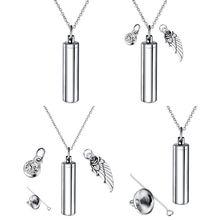 Ювелирный цилиндр для кремации из нержавеющей стали, домашнее животное ожерелье с урной на память, Крыло ангела