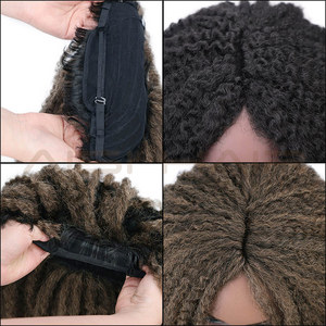 Image 5 - AISI HAIR Dreadlock Marley Braids Ombre Braiding Hair Wig Synthetic Afor Kinky Curly Wig Black Ombre Brown for Women/Men
