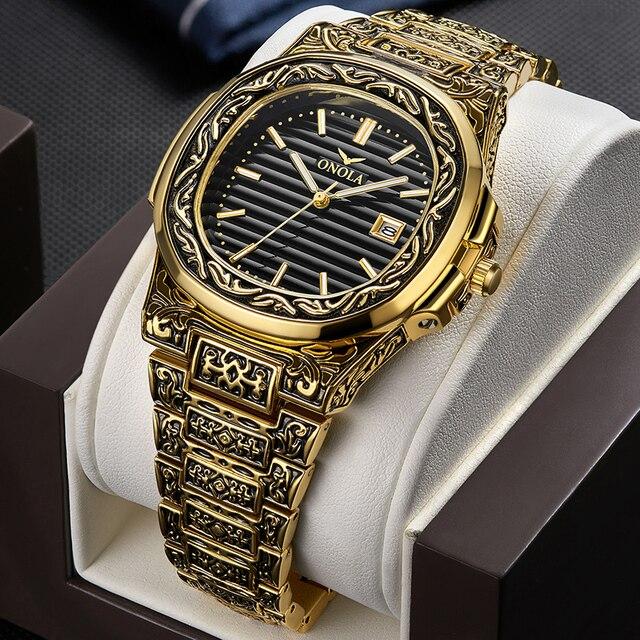 ONOLA projektant zegarek kwarcowy mężczyźni 2019 unikalny prezent zegarek wodoodporny moda casual Vintage złoty klasyczny luksusowy zegarek mężczyzn