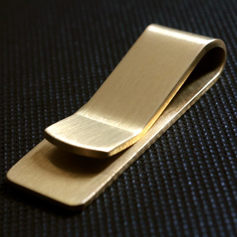 Винтажный однотонный латунный кошелек с зажимом для денег толщиной 1,5 мм, металлический мужской держатель с зажимом для купюр, папка для удо...