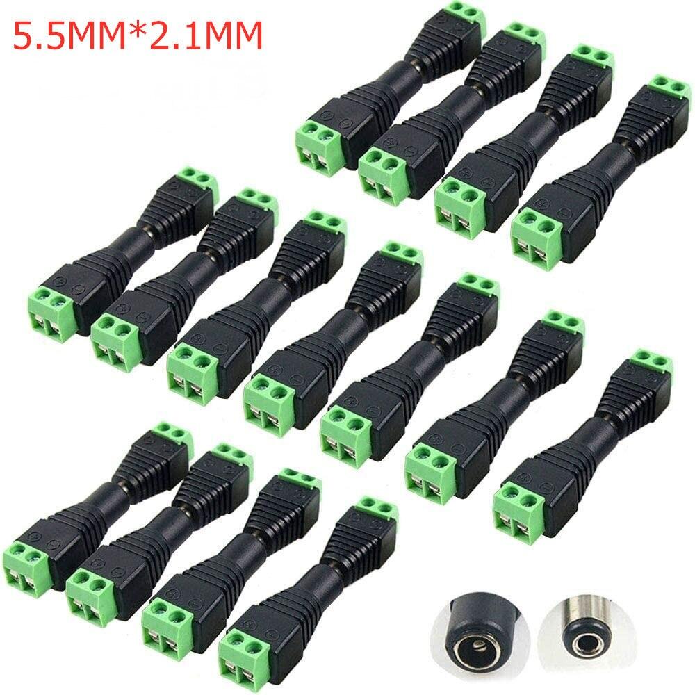 5 uds. 10 Uds. 100 Uds. 5,5x2,1 MM conector de Cable CC hembra macho, conexión de enchufe de alimentación para tira de LED, cámara de seguridad CCTV DVR
