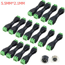 5 uds 10 Uds 100 Uds 5,5*2,1 MM macho DC conector de Cable de alimentación de enchufe Jack conexión para tira LED cámara de seguridad CCTV DVR