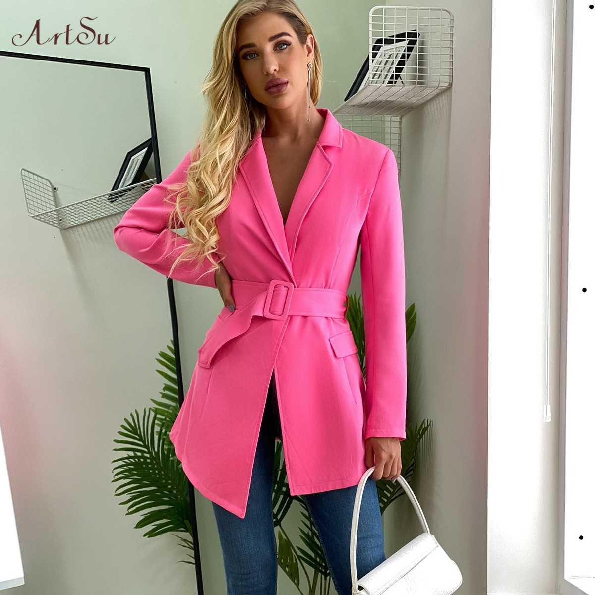 ArtSu עמוק V צוואר ארוך טרייל שמלת 2020 ורוד תלבושות Slim מותניים חליפת שמלת נשים ארוך שרוול מיני שמלות Femme גלימה חדשה