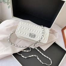 Высококачественные цепи мешок женщин сумка к 2020 году новые летние текстуры Моды сумка диких одно плечо складка кроссбоди мини квадратных сумка