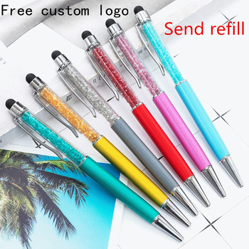 Free CustomLOGO Name Ballpoint Pen Metal Crystal Diamond Capacitor Pen Multifunction Metal Gift Ballpoint Pen 15 25pcs metal ballpoint pen black ink diamond shaped artificial crystal pen with plastic box