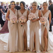 Long Bridesmaid Dress with Split Sheath V Neck Sleeveless Ruched Chiffon Maid of Honor Gowns for Wedding Party