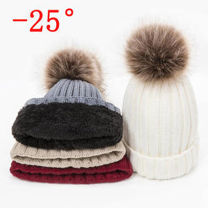 Women's Hat Beanies-Caps Pompoms Skullies Knitted Warm Female Winter Thick for Czapka-Zimowa