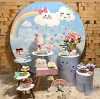 Cute cloud birthday party backdrop poster sky rainbow baby shower round scene setter wall decor banner background poster Y07