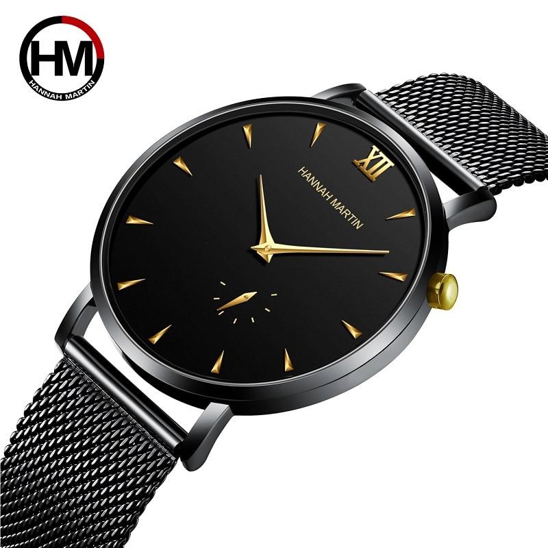 Hannah Martin Men Casual Mesh Steel Waterproof Sport Watch Fashion Mens Watches Top Brand Luxury Quartz Watch Relogio Masculino