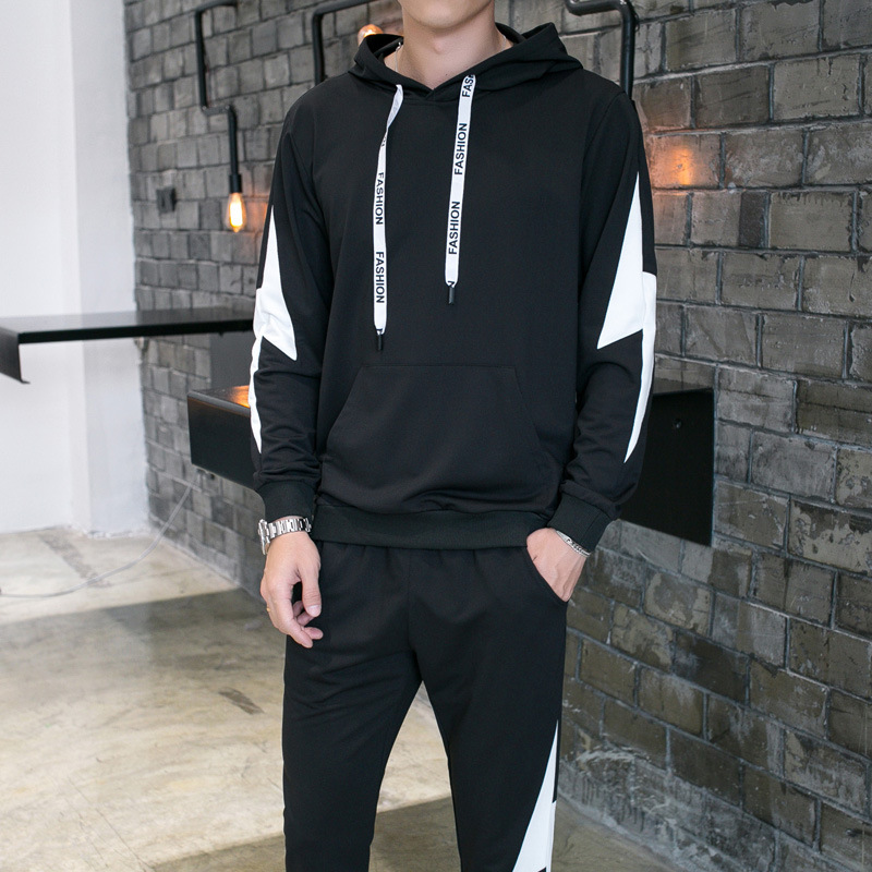 Spring New Style Leisure Suit Men's Hoodie Two-Piece Set Teenager Korean-style Beam Leg Trousers Sports Set Fashion