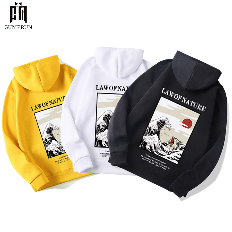 Japanese Fashion  2019 New Autumn Embroidery Funny Cat Wave Printed Fleece Hoodies Winter Japan Style Hip Hop Casual Sweatshirt