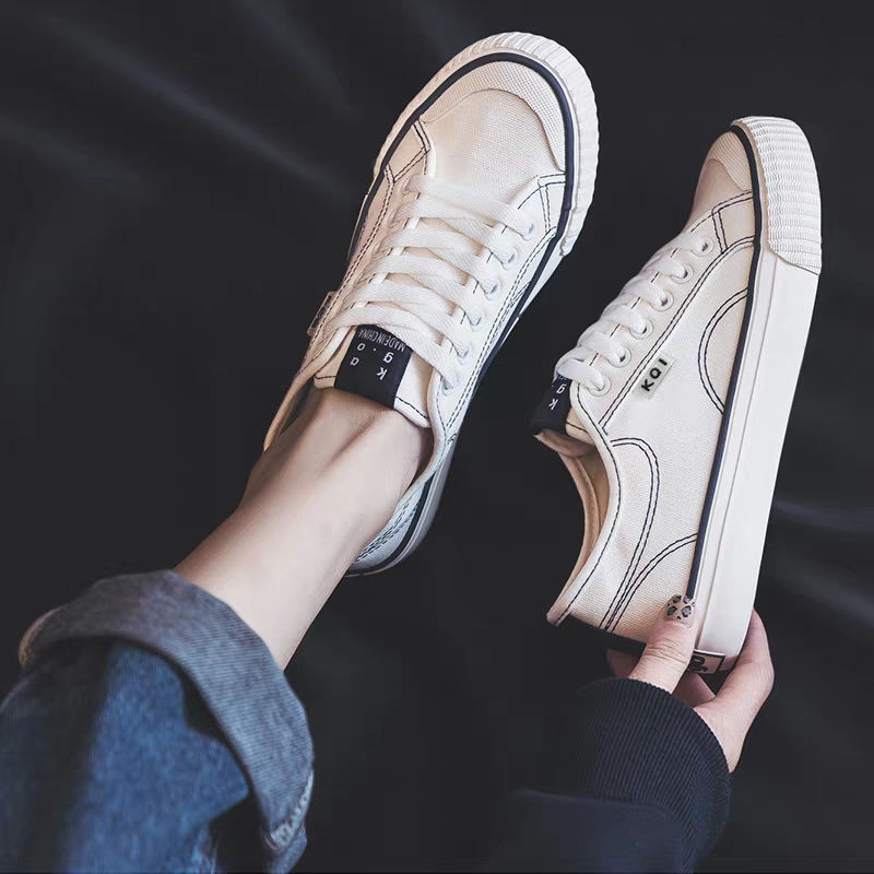 2020 Newly Women Vulcanized Solid Shoes Sneakers Unisex Lace-up Casual Shoes Breathable Walking Canvas