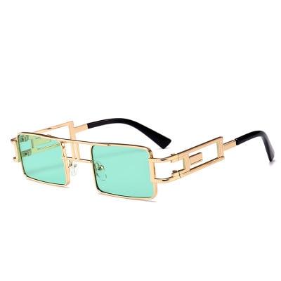 Fashion High End Metal Small Lens Vintage Square Punk Sunglasses Steampunk UV400 Women Glasses