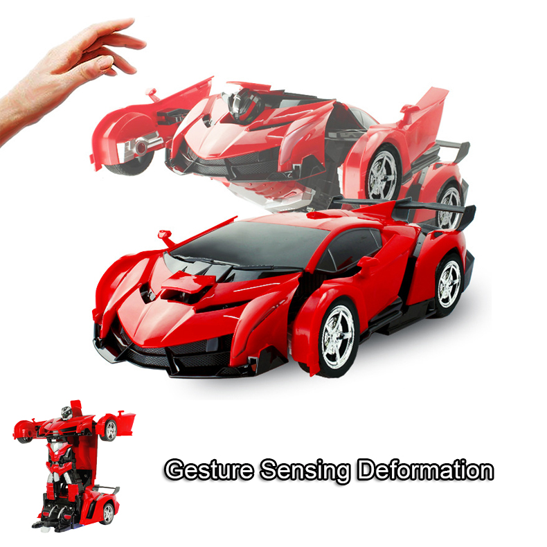 Induction RC Car Transformation Robots Sports Vehicle Model Robots Toys   RC Robot Car Remote Control 2 IN 1 Kid Boys Toy Xmas