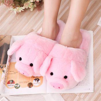 Drop Ship&Wholesale Women Winter Cute Pink Pig Animal Cartoon Plush Slippers Non-Slip Furry Shoes Nov.19 - discount item  37% OFF Women's Shoes