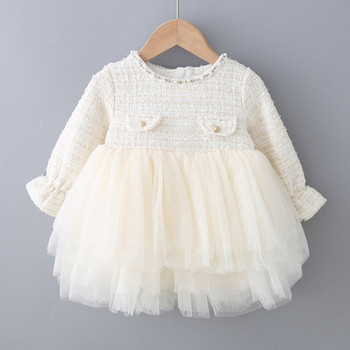 Children Spring Autumn Knitted Mesh Dress Princess Dresses for Baby Girl Dresses Fashion Baby Kids Birthday Party Dress Clothing image