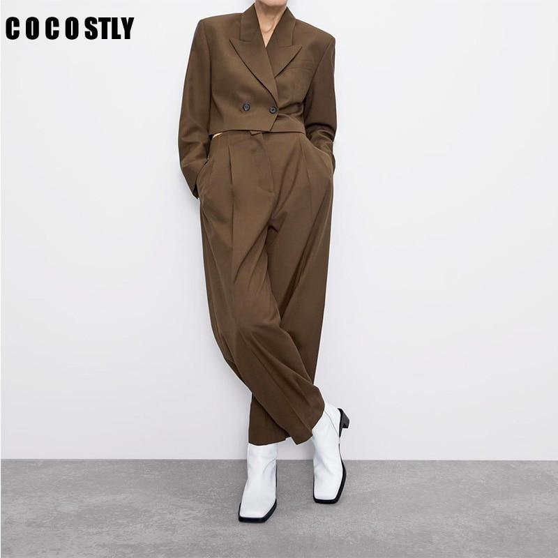Official Blazer Pants Two Sets Women 2020 Short Casual Suit Jacket High Waist Pleated Wide Leg Pants Suit