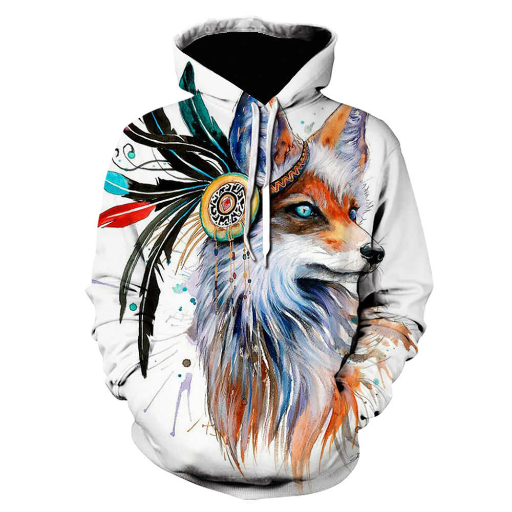 Vos Door Pixie Koud Art Sweatshirts 3D Mannen Hoodies Merk Trainingspak Dropship Streetwear Casual Trui Animal Off Witte Kleren