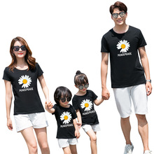 Family Matching T-shirts Summer Cotton Mother Daughter Kids