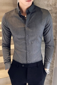Image 5 - British Style Shirt Men Autumn Formal Wear Solid Men Dress Shirts Long Sleeve All Match Slim Fit Casual Social Shirt Male 3XL M