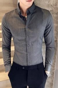 Image 5 - Homens da Camisa do Estilo britânico Outono Desgaste Formal Dos Homens Sólidos Camisas de Vestido de Manga Longa Durante Todo o Jogo Slim Fit Camisa Social Ocasional masculino 3XL M