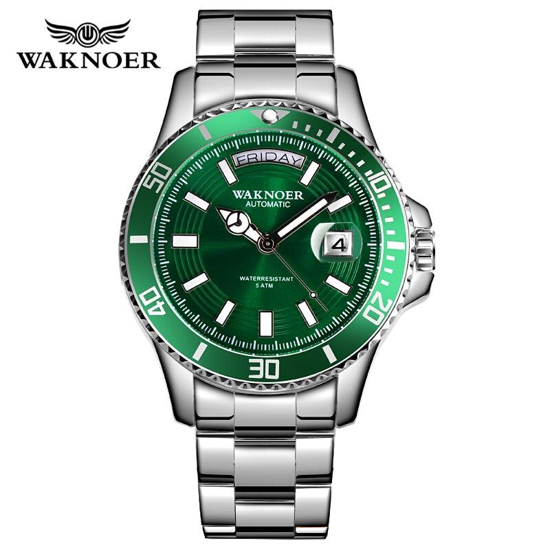WAKNOER Brand Luxury Men Automatic Watch Men Stainless Steel 50M Waterproof Business Sport Mechanical Wristwatch Male Date Clock