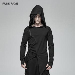 Image 1 - PUNK RAVE Gothic Mens Black Mysterious Men Long Sleeve T shirt Punk Rock Hooded Show Thin Sweatshirt Irregular Casual Tops Tees