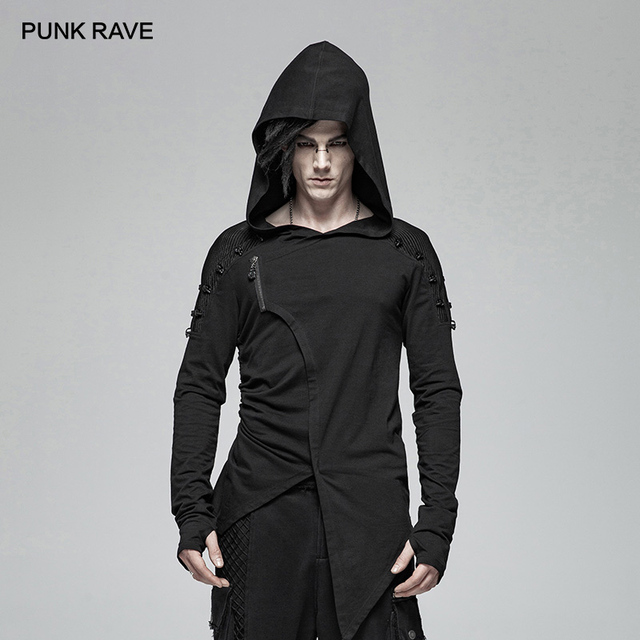 PUNK RAVE Gothic Mens Black Mysterious Men Long Sleeve T shirt Punk Rock Hooded Show Thin Sweatshirt Irregular Casual Tops Tees