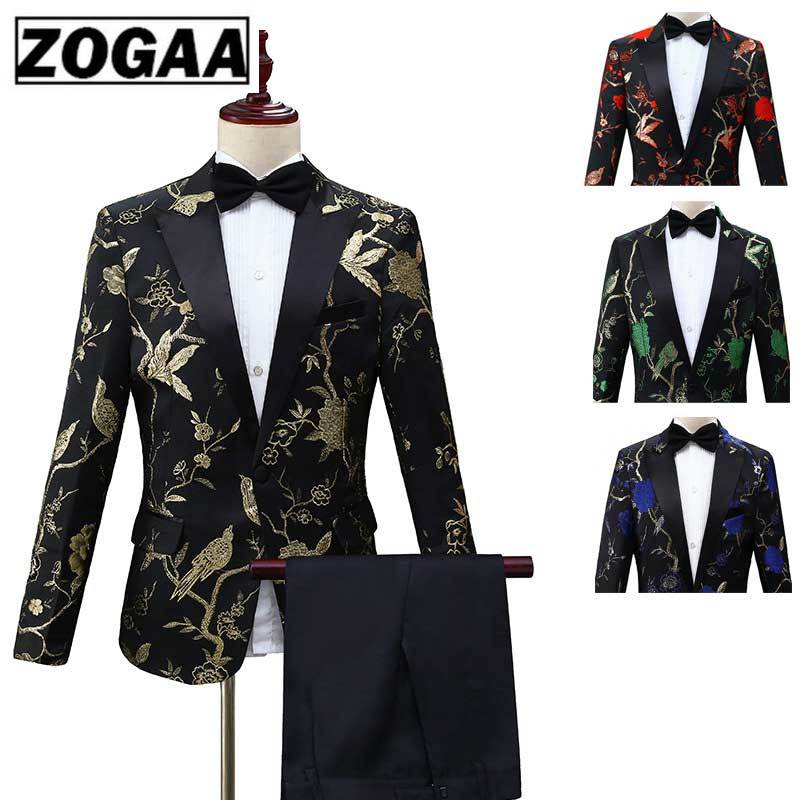 ZOGAA New Design Mens Stylish Embroidery Royal Blue Green Red Floral Pattern Suits Stage Singer Wedding Groom Tuxedo Costume