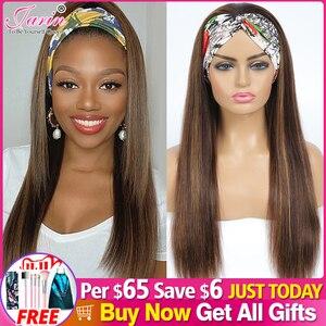 Image 1 - #4/27 destaque colorido perucas de cabelo humano bandana perucas de cabelo humano ombre remy peruca para preto feminino jarin cabelo