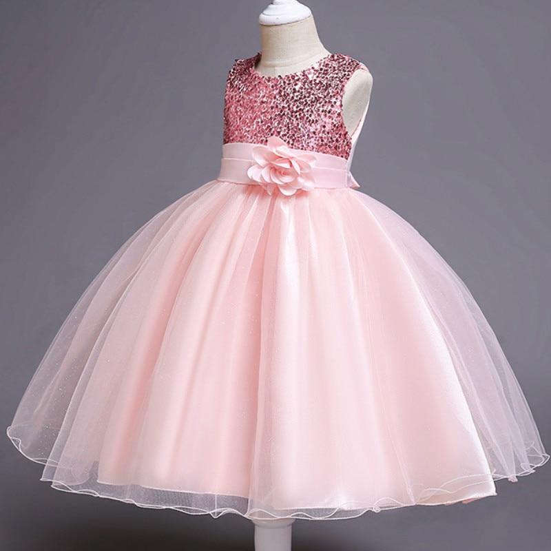 Baby Girls Sequins Flower Party Tutu Dress Clothes Children Girls Wedding Birthday Dress Clothing Infant Kids Christmas Costume 1