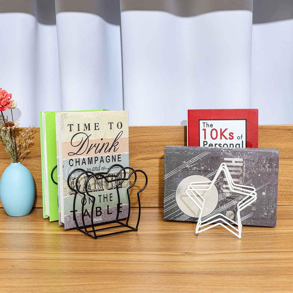 Bookend Iron Art Magazine Bookshelf Nordic Book Display Sundry Storage Star File Organize Stand Book Holder