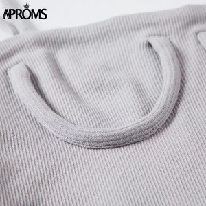 Image 5 - Aproms Candy Color Knitted Ribbed Cropped Tank Top Streetwear Basic Camis Fashion Women Crop Top Short Elastic Bra T shirts Tees