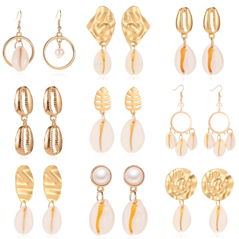 HOCOLE Sea Shell Earrings For Women Fashion Bohemian Gold Color Metal Geometric Drop Dangle Earring 2019 Brincos Jewelry