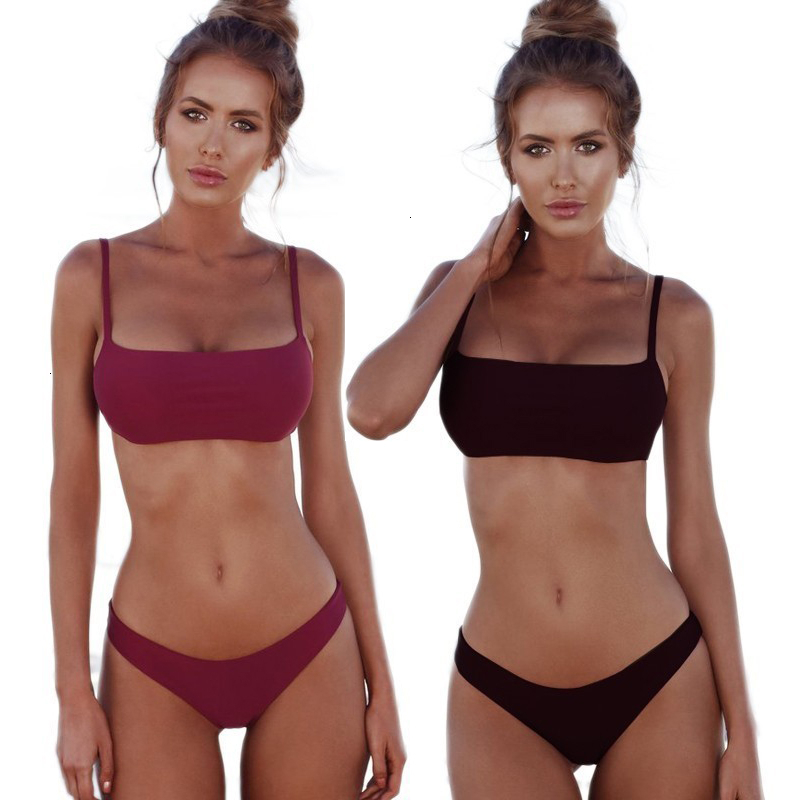 Sexy Brazilian Bikini Set  Solid Low Waist Swimwear Women Bathing Suit Summer High Cut Bikinis Swimsuit Female 2020 New Biquini