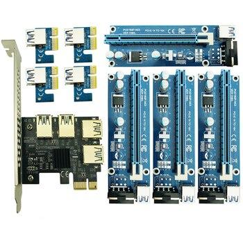 Riser PCIe 1 to 4 PCI Express 16X Slots PCI-E Riser 1X to 4 PCI-E 16x Adapter USB 3.0 Molex 4pin for BTC Miner Antminer Mining