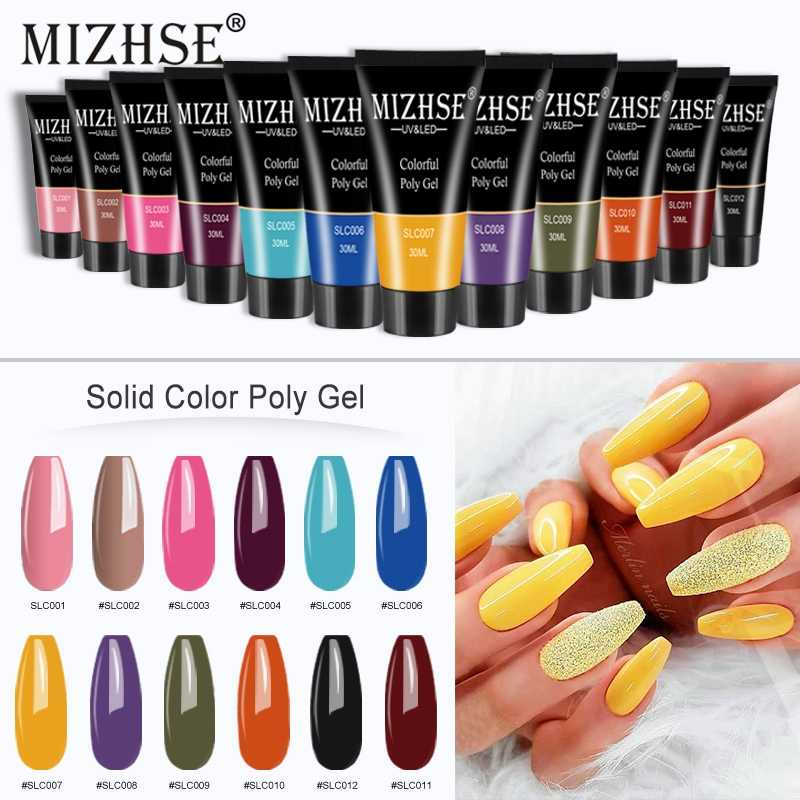 Mizhse 30G/15G Kleur Polygel Vinger Extension 12 Kleuren Snelle Building Gel Uv Hard Builder Poly Gel nagellak Nodig Base & Top