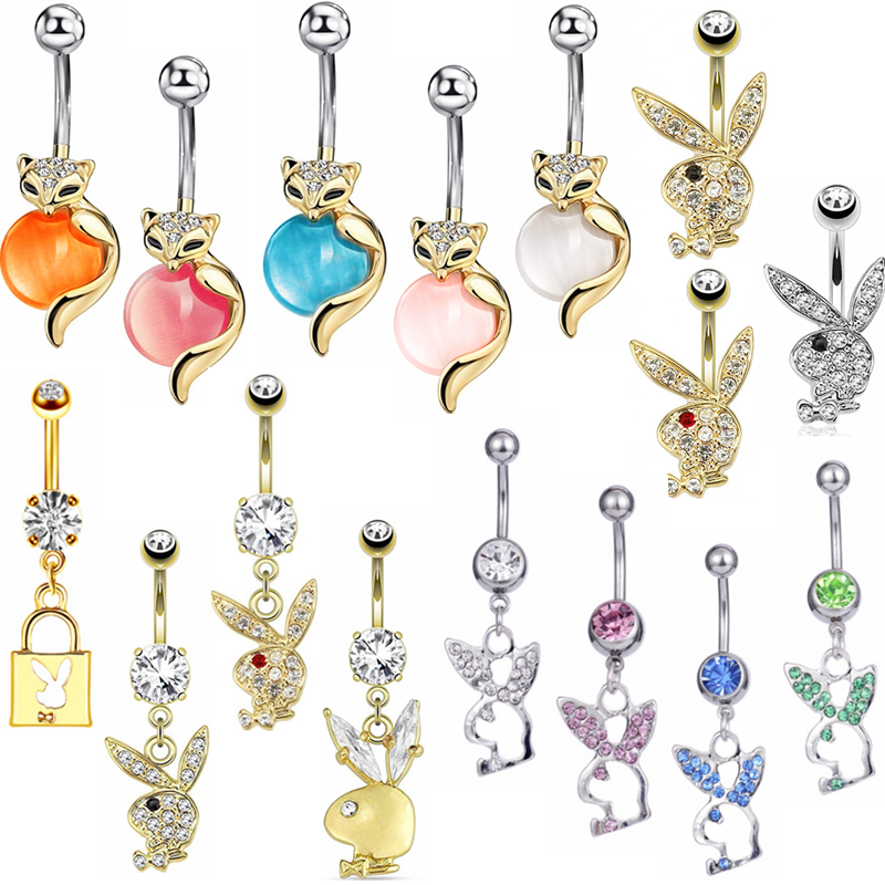 14G Belly Button Ring Jeweled Disco Ball Piercing Navel Body Piercing Lot 2PC