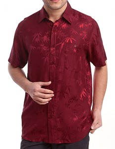 Image 5 - Camisa de manga curta para homens, camisa de bambu jacquard charmeuse, camisas de negócios de seda pura, manga curta, tamanho g, gg, ggg, ggg, 100%
