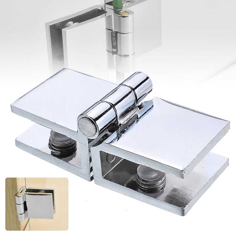 Silver Durable Single Suction Door Clamp Hinge Shower Screen Hinges Set