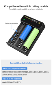 Image 3 - PHOMAX 18650 3 slots USB cable battery LED smart display fast charger 14500 26700 26500 IMR/Li ion rechargeable battery charger