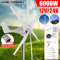 6000W 12V/24V 3/5/6 Blades Horizontal Wind Generator Wind Turbine Generator Windmill Energy Turbine Charge for Home Camping