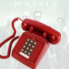 Teléfono Retro teléfono viejo americano antiguo teléfono fijo Oficina Casa Hotel película negro blanco rojo telefono fijo