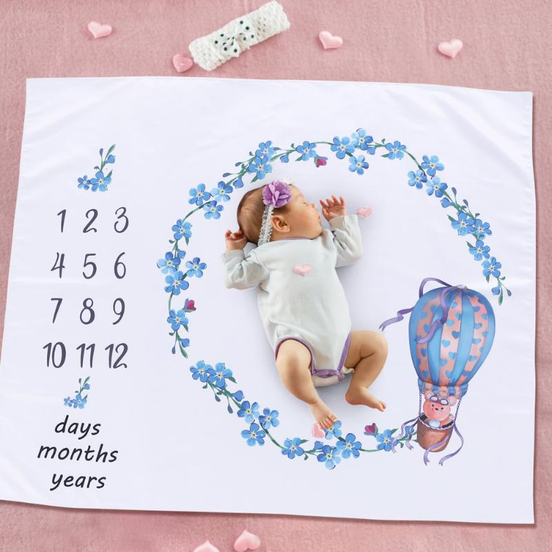 120x100cm Cartoon Baby Milestone Blanket Newborn Photography Blanket Backdrop Cloth