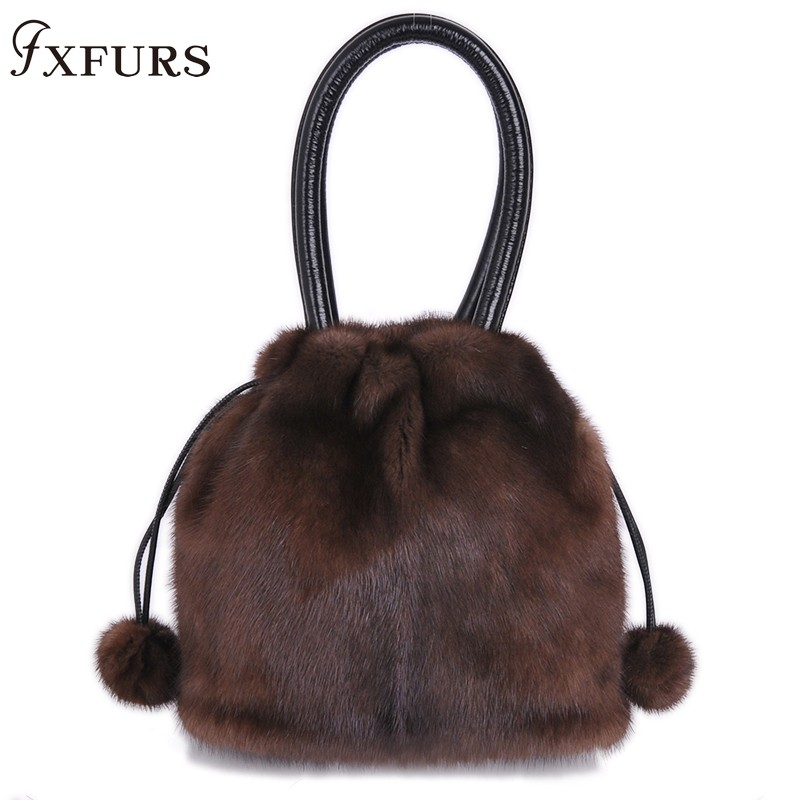 2019 New Arrival Real Fur Bags Made By Whole Pieces Mink Fur Women Luxury Messenger Bags Mink Fur Bucket Bag For Female Winter