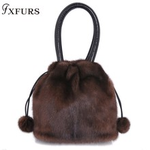 2019 New Arrival Real Fur Bags Made By Whole Pieces Mink Fur Women Luxury Messenger Bags Mink Fur Bucket bag for Female Winter etersto 2017 new arrival women real mink fur handbag luxry real fur bag flap bags ladies crossbody bags female bags for lady