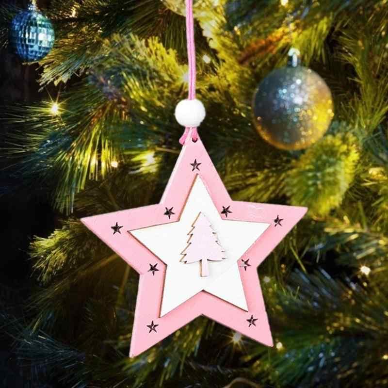 1PC 새해 천연 나무 크리스마스 트리 매달려 장식 나무 스타 라운드 스노우 엘크 천사 펜던트 선물 크리스마스 장식 나탈