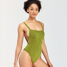 2020 Women's Green Push Up Sling Bikini Swimsuit Swimwear Set For Women Girl High Waisted Bikini Swim Suits Set Woman royal tie up front high waisted strings bikini set